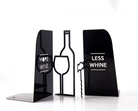Metal Kitchen Bookends   Minimalist, Useful And Somewhat Humorous Book  Holders   Less Whine More Wine   Will Sure Show The Wine Connoisseur In The  Kitchen.