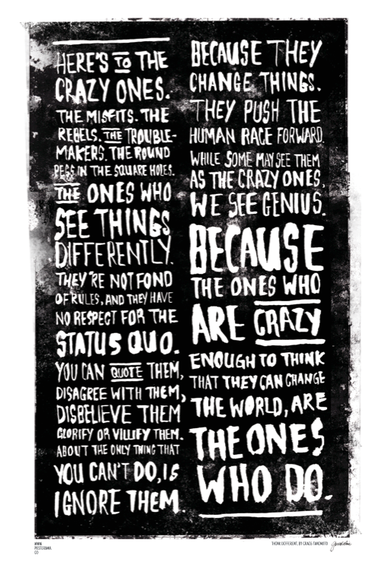 The Crazy One's / Think Different poster by Posterama co on The Bazaar